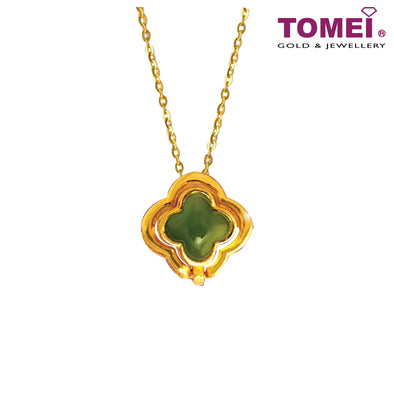 [Online Exclusive] Lucky Clover Mystical Evergreen Dynasty Nephrite Jade Pendant | Tomei Yellow Gold 999 (24K) (NEP-P-009)