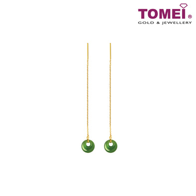 Mystical Evergreen Dynasty Nephrite Green Jade Earrings | Tomei Yellow Gold 999 (24K) (NEP-Q-005)