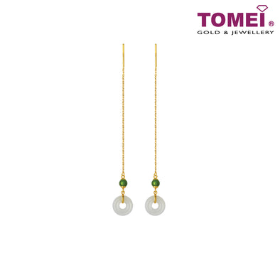 Mystical Evergreen Dynasty Nephrite White Jade Earrings | Tomei Yellow Gold 999 (24K) (NEP-Q-001)