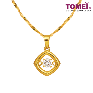 [Online Exclusive] Love at First Sight Pendant | Cubic Zirconia Heartbeat Collection | Tomei Yellow Gold 916 (22K) with Chain (9P-DDP5-1C-WC)