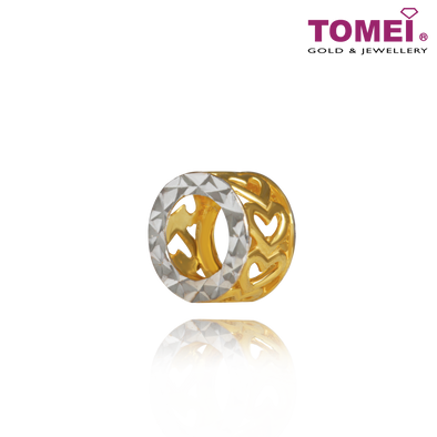 [Online Exclusive]Dual-Tone Roll of Love  2-Way Charm Pendant | Tomei Yellow Gold 916 (22K)(TM-PT124-2C) Navy Blue
