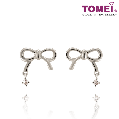 "Tomei White Gold 375 (9K) ""Love Giver"" Earrings (E1024)"