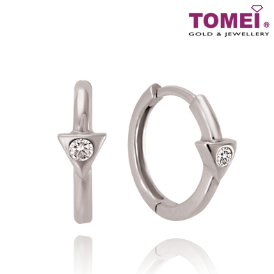 "Tomei White Gold 375 (9K) ""Love Triangle"" Earrings (E1636)"