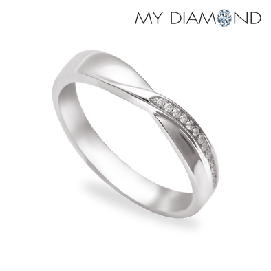 Tomei White Gold 375 (9K) Soul-Tie Wedding Band (SOU-R5492V)