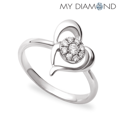 Tomei White Gold 375 (9K) Young Hearts Diamond Ring (R4161)