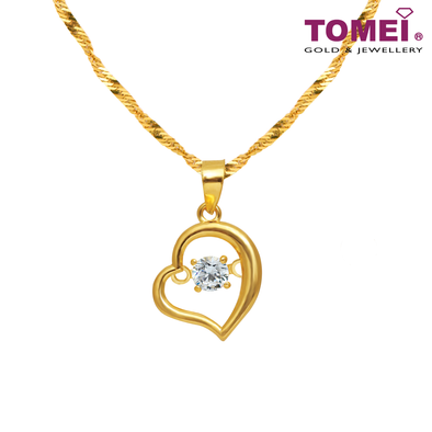 [Online Exclusive] My Heart Beats for You Pendant | Cubic Zirconia Heartbeat Collection | Tomei Yellow Gold 916 (22K) with Chain (9P-DDP3-1C-WC)