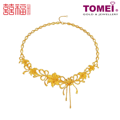 [ONLINE EXCLUSIVE PRE ORDER] Tomei x Xifu Yellow Gold 999 (24K) Blossoming Lilies Necklace 百合盛欢•L 项链 (XF-BHSH-L-N)