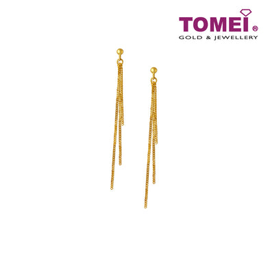 [Online Exclusive] Tri-Golden Strands Drop Earrings | Tomei Yellow Gold 916 (22K)(EE900-A-1C)