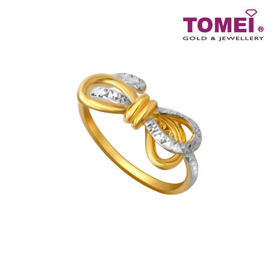 [Online Exclusive]Dual-Tone Ribbon Ring | Tomei Yellow Gold 916 (22K) (WS-YG0639R-2C)