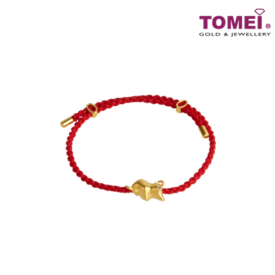 [Online Exclusive][Preorder]Fortune-Aiming Ox Diamond Charm with Expandable Bracelet (黄金小牛手链) | Tomei Yellow Gold 750 (18K) (OX-2021)