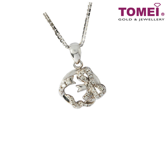 Diamond Necklace of Ribband in Elegantly Coruscating Diamantes | Tomei White Gold 375 (9K) (P5252)