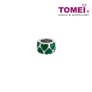 Bedecked with Verdant Hearts Charm | Tomei White Gold 585 (14K) (P5638)