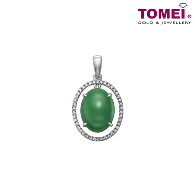 "Tomei White Gold 750 (18K) ""Jades of Harmony"" Circle of Love Jade Pendant (P6073)"