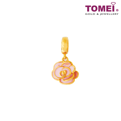 [Online Exclusive] Pink Floral Bloom Charm | Tomei Yellow Gold 916 (22K) (TM-YG0470P-EC)