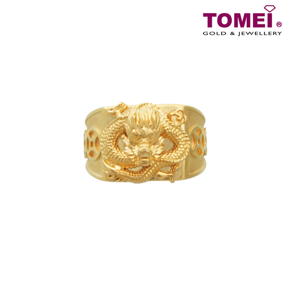 Tomei Yellow Gold 916 (22K) Dragon Men Rings (9O-YG0293R-1C)