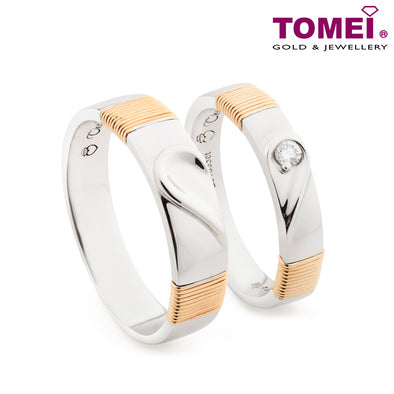 "Tomei White & Rose Gold 750 (18K) ""The Knot"" Wedding Rings (R3306 / R3307)"