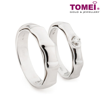 "Tomei White Gold 750 (18K) ""The Knot"" Wedding Rings (R3458 / R3459)"