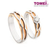 "Tomei White & Rose Gold 750 (18K) ""The Knot"" Wedding Rings (R3539 / R3540)"