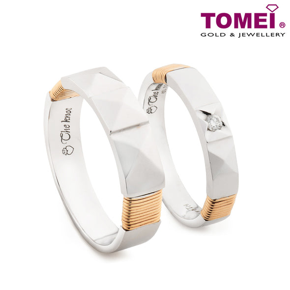 "Tomei White & Rose Gold 750 (18K) ""The Knot"" Wedding Rings (R3544 / R3556)"
