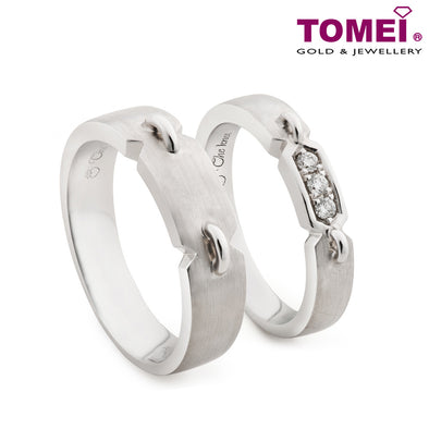 "Tomei White Gold 750 (18K) ""The Knot"" Wedding Rings (R3701 / R3702)"