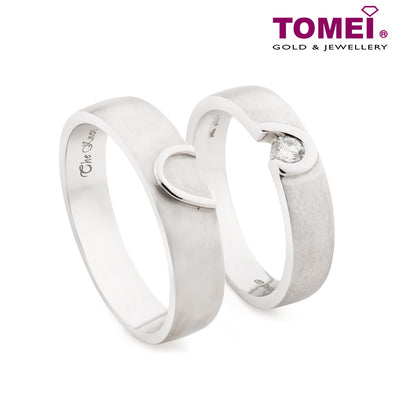 "Tomei White Gold 750 (18K) ""The Knot"" Wedding Rings (R3707 / R3708)"