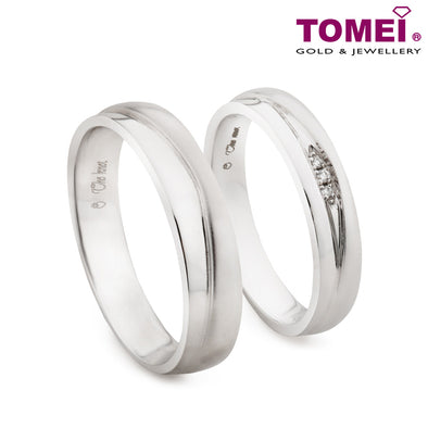 "Tomei White Gold 750 (18K) ""The Knot"" Wedding Rings (R4008V / R4009V)"