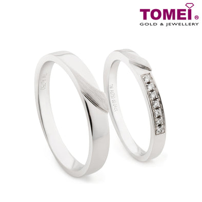 "Tomei White Gold 750 (18K) ""The Knot"" Wedding Rings (R4714V / R4715V)"