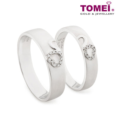 "Tomei White Gold 750 (18K) ""The Knot"" Wedding Rings (RDX16507)"