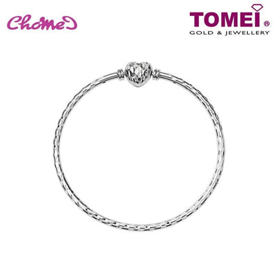 Tomei White Gold 585 (14K) Chomel Bangle with Diamond Heart Clasp (B0907)