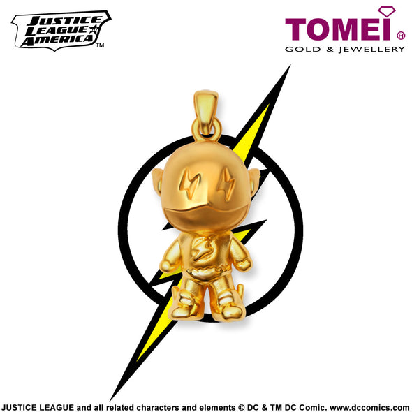 "Tomei x DC Justice League Super Heroes Yellow Gold 999 (24K) ""Flash"" Pendant (FS-1)"