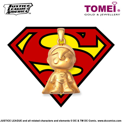 "Tomei x DC Justice League Super Heroes Yellow Gold 999 (24K) ""Superman"" Pendant (SM-1)"