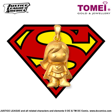 "Tomei x DC Justice League Super Heroes Yellow Gold 999 (24K) ""Super Girl"" Pendant (SG-1)"