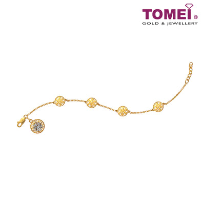 Dasher In Snow Linear Array of Snowflakes Bracelet | Tomei Yellow Gold 916 (22K) (9M-YG1240B-2C)