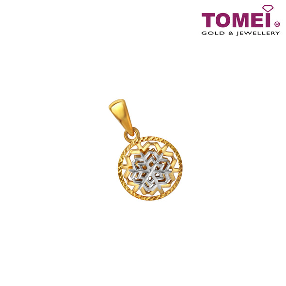 Dasher In Snow Tri-Tone Stunning Snowflakes Pendant | Tomei Yellow Gold 916 (22K) (9P-YG0782P-2C)