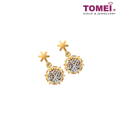 Dasher In Snow Tri-Tone Striking Snowflakes Earrings | Tomei Yellow Gold 916 (22K) (9Q-YG1166E-2C)