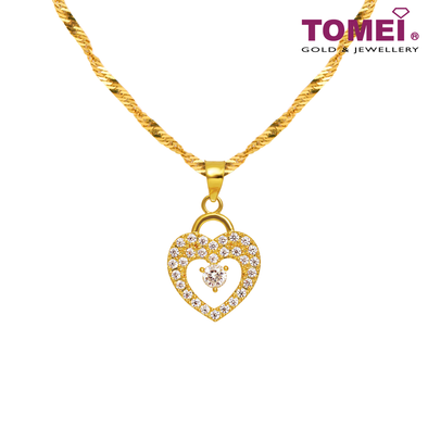 [Online Exclusive] So In Love Pendant | Cubic Zirconia Heartbeat Collection | Tomei Yellow Gold 916 (22K) with Chain (9P-SP1-1C-WC)