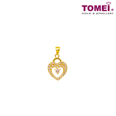 "[Online Exclusive] Tomei 916 (22K) Yellow Gold ""So In Love"" Cubic Zirconia Heartbeat Pendant with Complimentary Rope Necklace (9P-SP1-1C)"