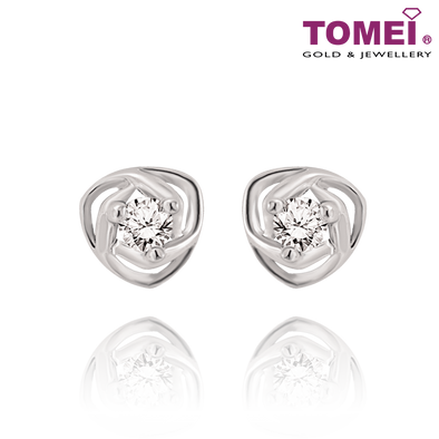 "Tomei White Gold 375 (9K)  ""Surround Me with Your Love"" Earrings (E1474)"