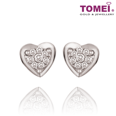 "Tomei White Gold 375 (9K) ""Sweet Love"" Earrings (E1958)"