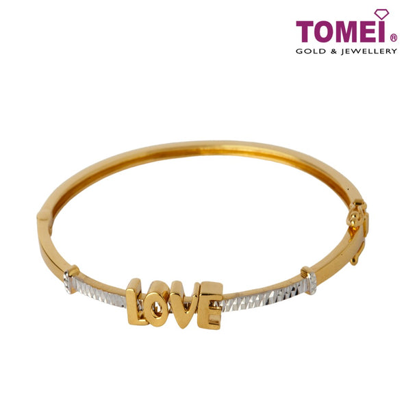 [Online Exclusive]Dual-Tone Swing in Love Bangle | Tomei Yellow Gold 916 (22K)(9L-YG1190B-2C)