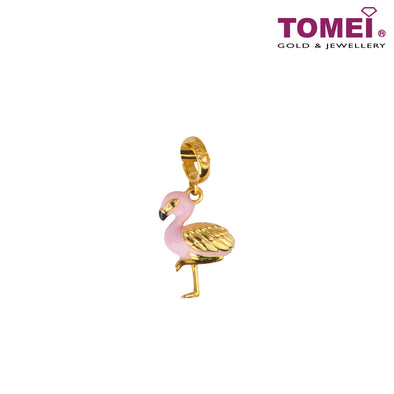 Flamingo in Love Charm | Tomei Yellow Gold 916 (22K) (TM-YG0813P-EC)