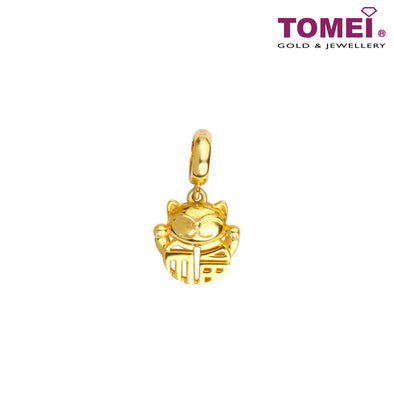 Fu of Fullest Fortune Cat Charm | Tomei Yellow Gold 916 (22K) (TM-YG0820P-1C)