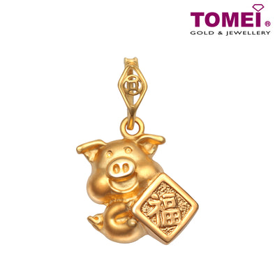 "Tomei Yellow Gold 916 (22K) ""Fortune Piglets"" Pendant  (9P-PT2692-1C)"