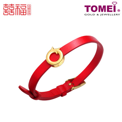 Tomei x Xifu Yellow Gold 999 (24K) Phoenix Red Leather Bracelet  (XF-LFZ-PHX-P)