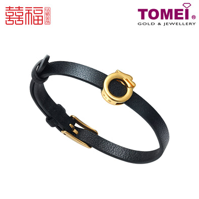 [Online Exclusive] Dragon Black Leather Bracelet | Tomei x Xifu Yellow Gold 999 (24K) (XF-LFZ-DRG-P)