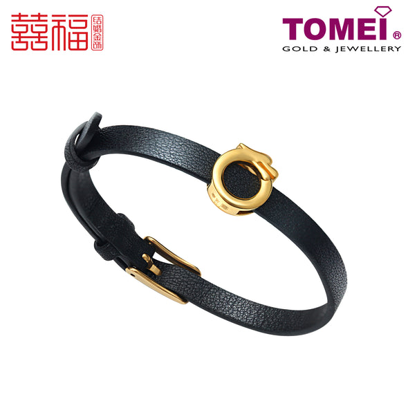 Tomei x Xifu Yellow Gold 999 (24K) Dragon Black Leather Bracelet (XF-LFZ-DRG-P)