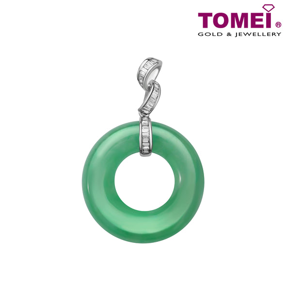 "Tomei White Gold 750 (18K) ""Everlasting Wellbeing"" Jade Diamond Pendant (JP0330)"