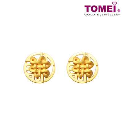 "Tomei Yellow Gold 916 (22K) ""The Knot of Fortune"" Earrings (9Q-YG1148E-1C)"