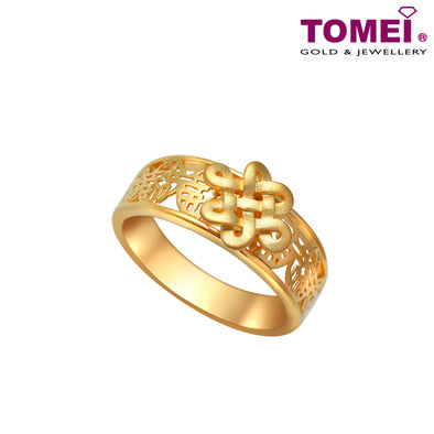 "Tomei Yellow Gold 916 (22K) ""The Knot of Fortune"" Ring (9O-YG0347R-1C)"