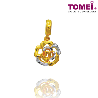 Dual-Tone Flower Chomel Charm | Light of My Life | Tomei Yellow Gold 916 (22K) (TM-PT129-2C)